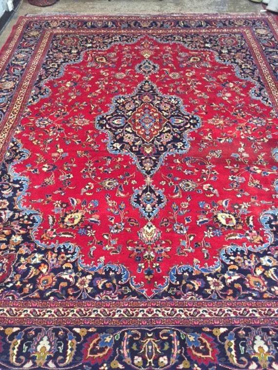 "10' x 12'7"" Persian Mashad Oriental Rug - 1980s - Hand Made - 100% Wool - Full Pile - Vintage"