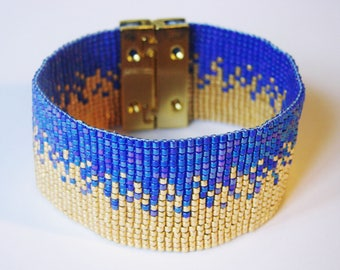 Wide Bracelet sand gold and Royal blue - glass Miyuki beads