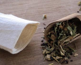 """100% Organic Cotton  Reusable Tea Bags Single Serving - 2X3"""" Size, Choose Your Quantity"""