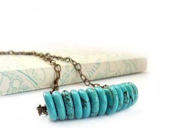 Turquoise Bar Necklace - Beaded Stacking Boho Necklace - Turquoise Magnesite Disc Beads - Bronze Chain, Bohemian Necklace