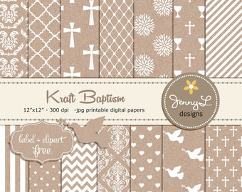 Kraft Baptism Digital Paper, First Communion, Dedication, Christening Cardboard Holy Week, Dove Clipart, Cross, Chalice, Scrapbooking