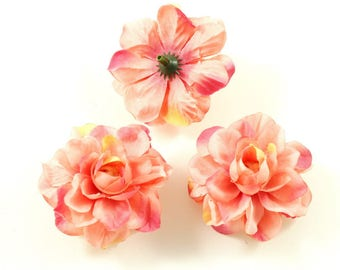 Set of 3 artificial flowers without stem 5.5 cm - salmon