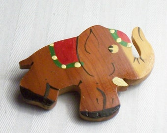 Vintage Hand Painted Elephant Pin Wood Circus Elephant Pin - Trunk Up!