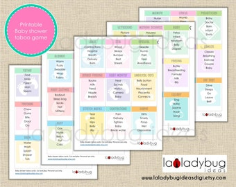 Baby shower taboo printable game. Baby shower taboo printable cards. Baby shower games. Instant download. PDF File, High resolution.