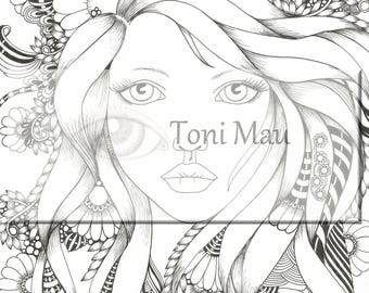 Stella – Digital Download Coloring Page, Adult Coloring, Relaxing, Digi Stamp, Printable, PDF file.