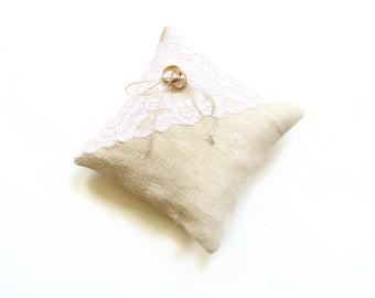 Ring bearer pillow, natural burlap pillow, rustic wedding pillow, ring pillow, simple wedding