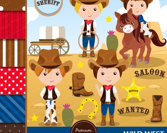 Cowboy clipart, Wild West Clipart, Wild West Party, Western Clipart, Boy Clipart, Western Graphics, Scrapbook paper - CL151