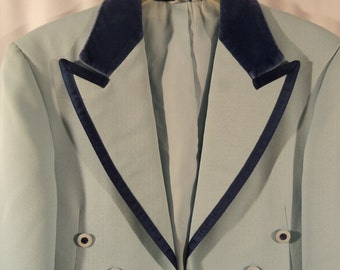 1970s Powder Blue Men's Tux Jacket with Velvet Lapels/VintageTall Coat