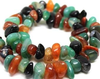 Multi Color Agate Semi Precious Gemstone Pebble Beads