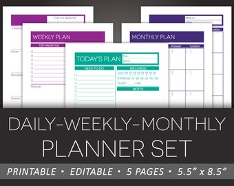 Printable Daily Weekly Monthly Planner Set – Editable To-Do Health Schedule Meal Plan Calendar 5.5 x 8.5 Half Letter PDF – Instant Download