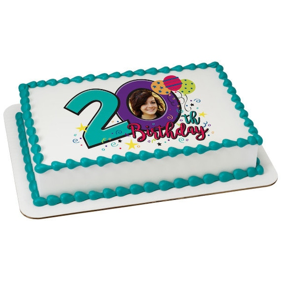 Happy 20th Birthday - Edible Cake and Cupcake Photo Frame For Birthdays and Parties! - D24111