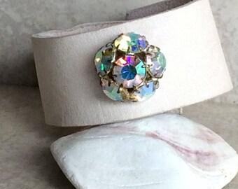 Pink Leather Crystal Bracelet