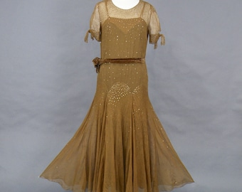 1920s Sequin Dress, Antique 20s Dress, Art Deco Brown Silk Chiffon Evening Dress