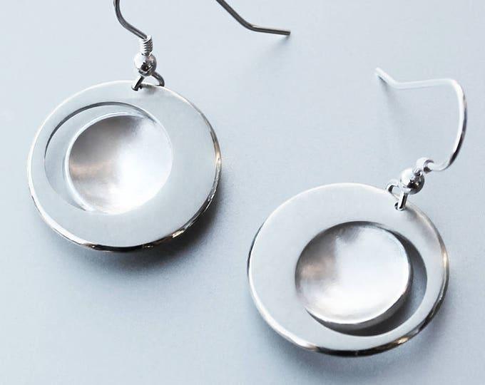 Eclipse Earrings, Silver Jewelry, Silver Jewellery, Silver Earrings, Modern Earrings, Contemporary Earrings, Abstract Earrings.