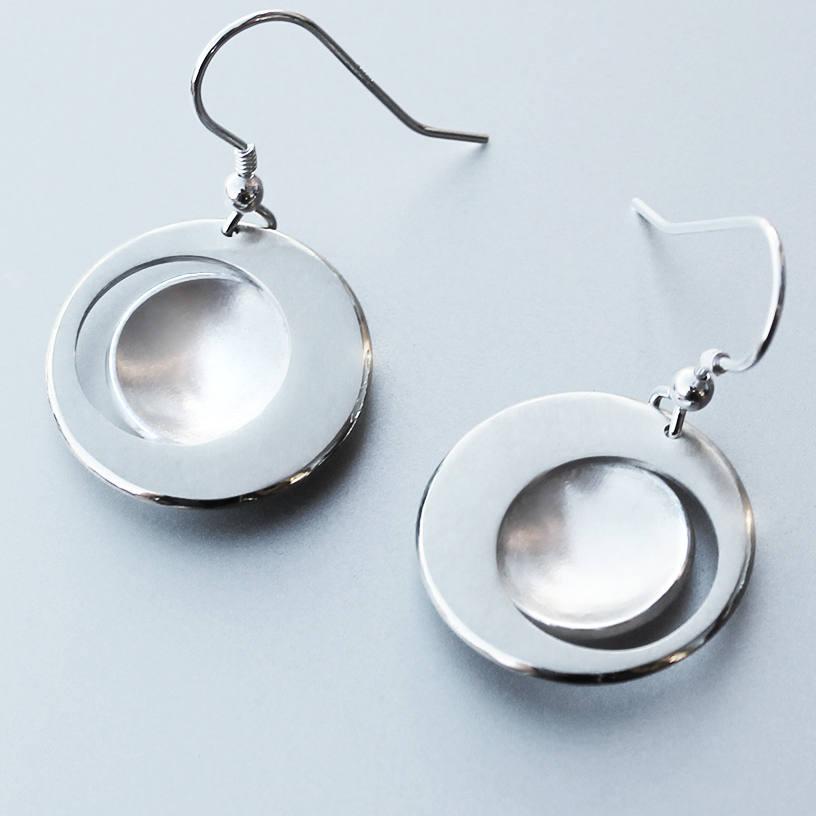 Top Eclipse Earrings, Silver Jewelry, Silver Jewellery, Silver  KA11