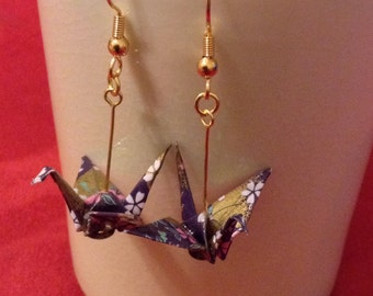 origami earrings - murasaki