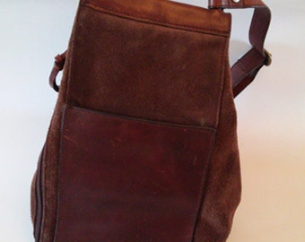 Brown Leather and Suede Convertable Backback with Top Handle