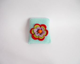Turquoise crochet pouch, light blue crochet container,handmade crochet pouch with flower and a wooden button, feminie pad case,READY TO SHIP