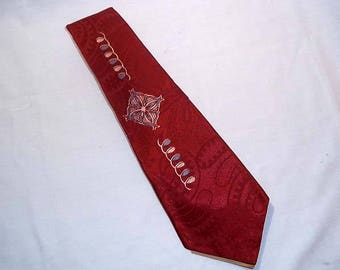 Mens Vintage Burgundy Tie Necktie - Spencerian Scroll - Tone on Tone Paisley with White and Pale Blue Accents