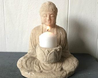 cast stone Buddha candleholder - zen meditation figure - spiritual alter icon - religious prayer shrine