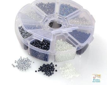 White silver gray black mix: 1 box 150 g seed beads 4mm. 8 different colors