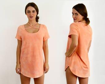 Tie-Dye Hemp Jersey T-Shirt dress w/ choker