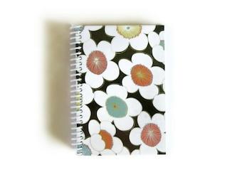 Japanese Flowers Notebook A6 Spiral Bound - Pocket Journal, Back to School, Brown Orange Aqua, Draft Diary, Blank Sketchbook, Gifts Under 20