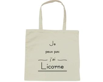 Tote bag white bag I can't I Unicorn
