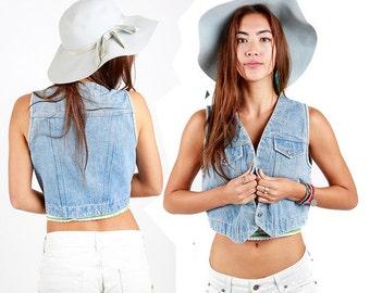 90s Vintage Denim vest 100% Cotton