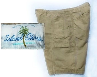size 38 shorts men - vintage men's shorts, men's cargo shorts, casual shorts, men's brown shorts, Island Shores shorts men -  # 52