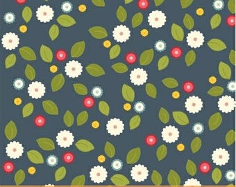 By The HALF YARD - Wallflowers by Allison Harris of Cluck, Cluck Sew for Windham Fabrics, Patt. #37101-3 Gathered Flowers on Steel Navy Blue