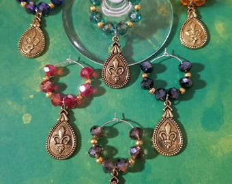 Antique gold fleur de lis wine glass charms, drinkware, handmade kitchen accessories, housewarming gifts, wine lovers gifts