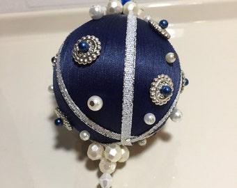 Victorian silk beaded pearl Christmas ornament, silver handmade beaded pearl ornament, blue silk pearl ornament, vintage silk pearl ornament