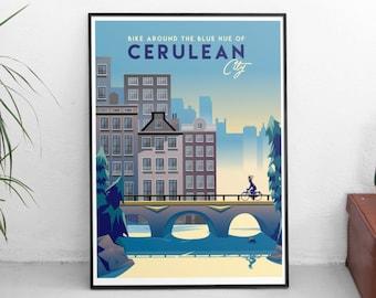 Pokemon Cerulean City | Travel Poster | Unframed