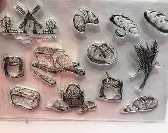 12 piece Bread Croissants Wheat and more clear stamp set, 20 - 50 mm (BB1/5)
