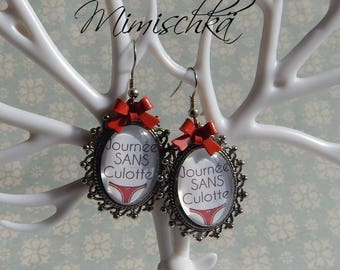 Day without panties knots earrings Red