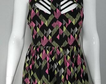 Women's cut out multicolor neon dress.