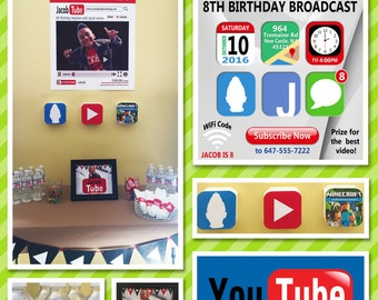 YouTube Theme Party Set, Youtubers Birthday Party Set - Printable and Printing Available