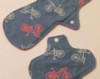 Blue pink and white cloth pad set of two, light flow reusable pantyliner, Bicycle print patiliner pack