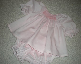 Smocked baby dress, baby, infant, bishop, diaper cover set, made to order