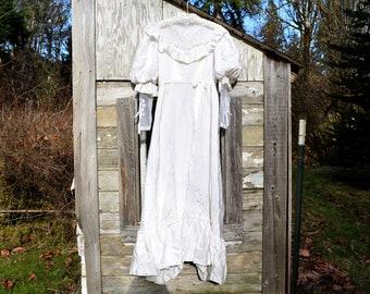 Vintage Wedding Dress Ivory Gunne Sax Style Ivory Prairie Dress Size 13 / 14