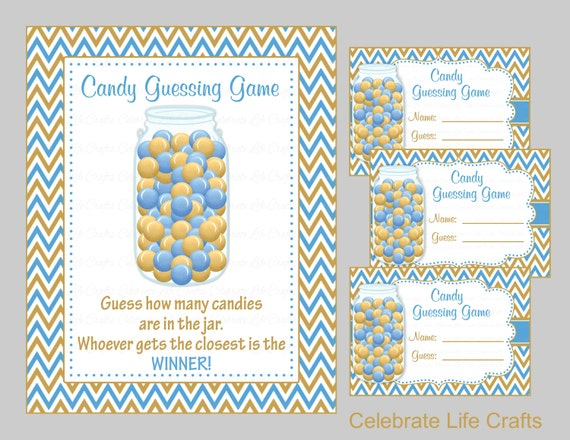 baby shower candy jar or candy bottle guessing game sign and. Black Bedroom Furniture Sets. Home Design Ideas