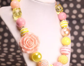 Lt. Pink and yellow Rose Bubble Gum Beaded Necklace, Spring Chunky Necklace,  Chunky Bead Necklace, Girls Necklace