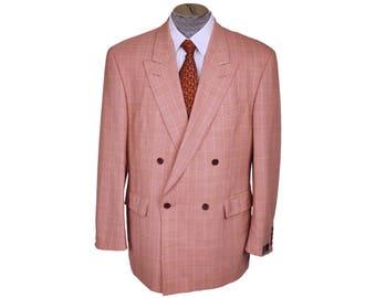 Vintage 1990s Glen Plaid Jacket Mens Blazer - Red and White - XL - NOS