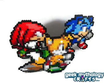 Sonic the Hedgehog - Sonic Tails and Knuckles / Cake Topper with Base or Individual