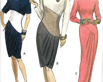 Vogue 7957 Misses Fitted, Straight Dress With Tulip Skirt And Contrast Front Sewing Pattern, Size 6-8-10, UNCUT