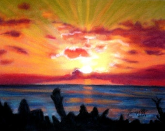 Kauai Sunrise 5x7 Art Print from Hawaii Giclee Hawaiian Vacation Beach orange blue ocean seascape