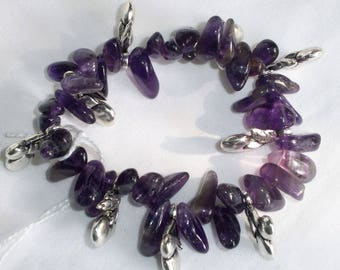 Beaded Amethyst d and charms bracelet