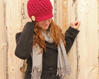 Crochet Knit Hat Chunky Newsboy Cap- Wine - Textured Adult Medium With Rustic Button and Brim