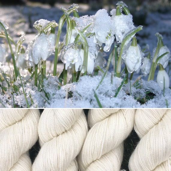 Frosty Snowdrop, soft merino nylon blend 4ply sock yarn white undyed with silver stellina